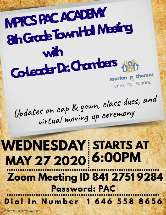 8th Grade Townhall Meeting on Wednesday, May 26th at 6:00 PM