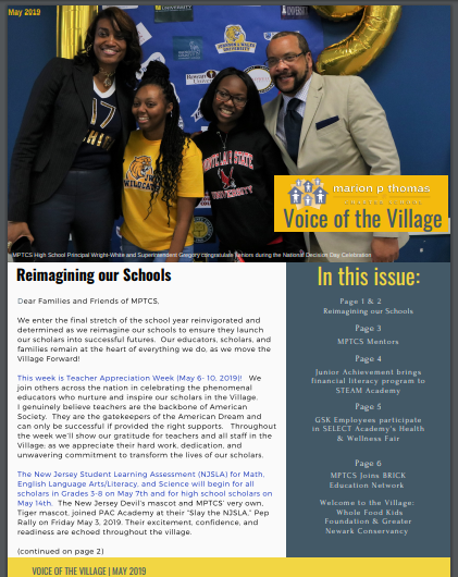We're reimagining our schools; finding innovative ways to teach our students about financial literacy; gearing up to slay the NJSLA; announcing new partnerships and more: read all about it in our latest Voice of the Village newsletter