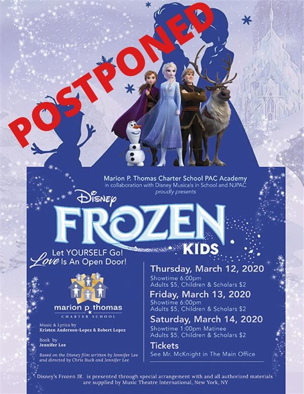PAC ACAEDMY'S FROZEN PERFORMANCES POSTPONED