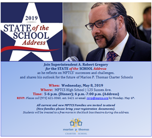 Current and new families are invited to join us for Superintendent Gregory's State of the School Address on Wed., May 8th