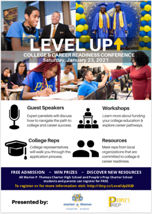 Level Up College & Career Readiness Virtual Conference on  Saturday,  1/23