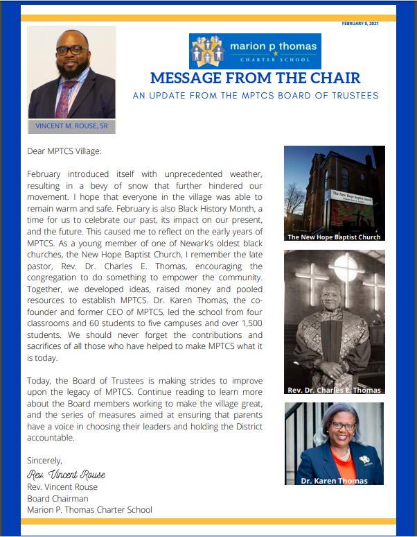 February Message from the Board Chair