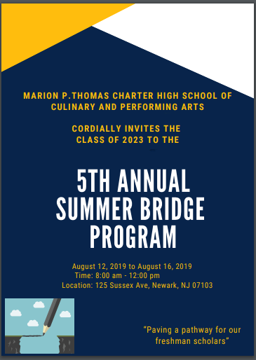 All incoming freshmen are urged to attend the Summer Bridge program, from August 12th to 16th, 8 a.m. to noon.  Summer Bridge will help students prepare and transition successfully into high school.